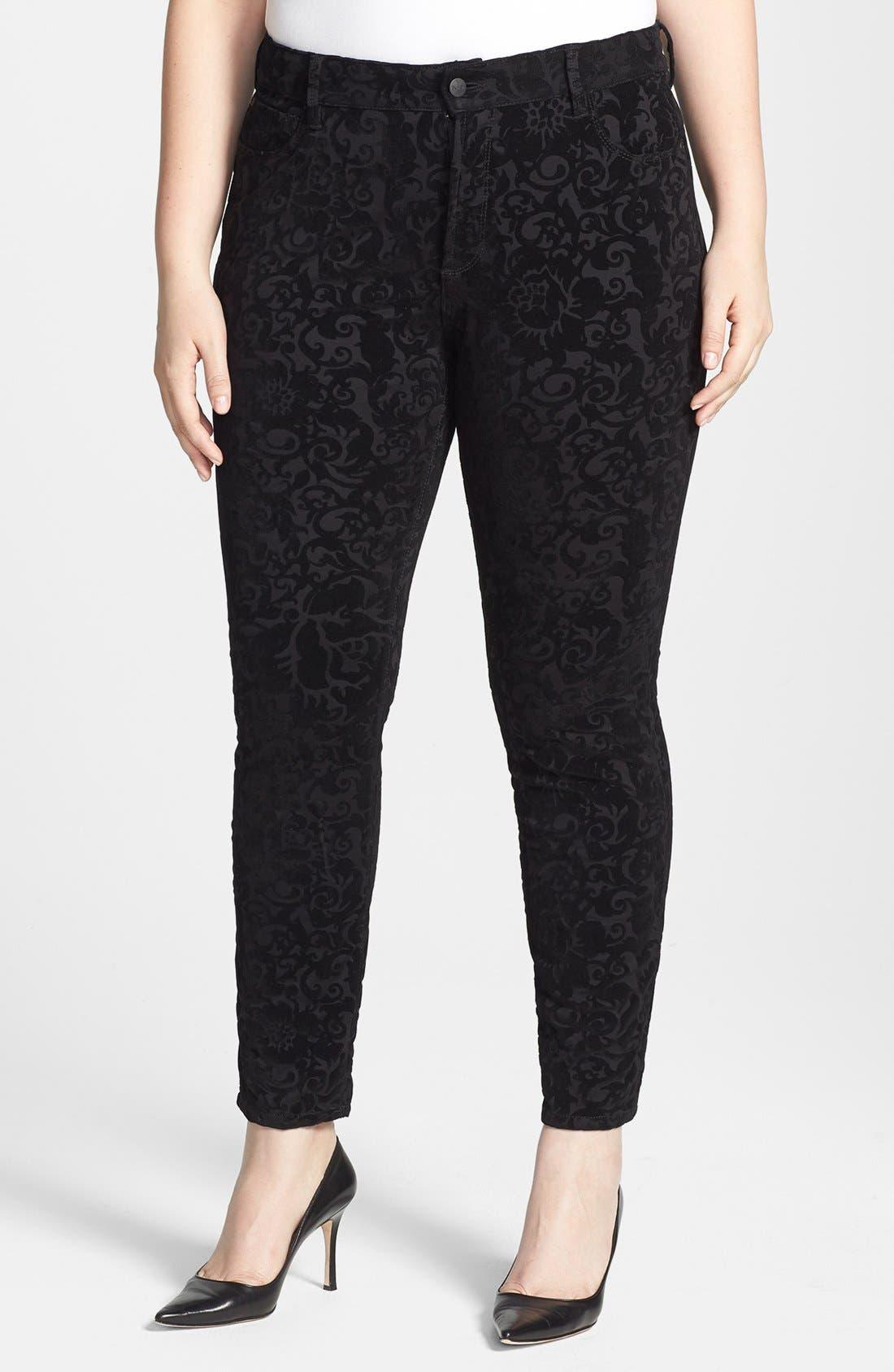 Main Image - NYDJ 'Sheri' Flocked Stretch Skinny Jeans (Plus Size)