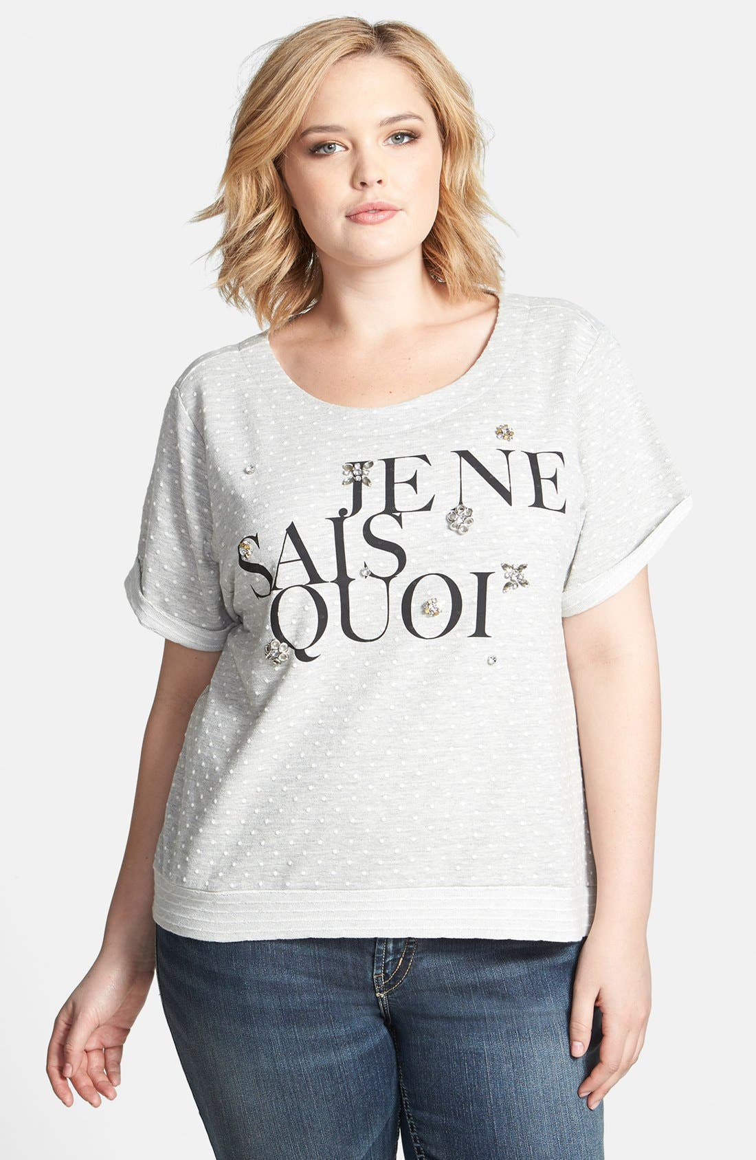 Alternate Image 1 Selected - Jessica Simpson 'Eleanor' French Terry Top (Plus Size)