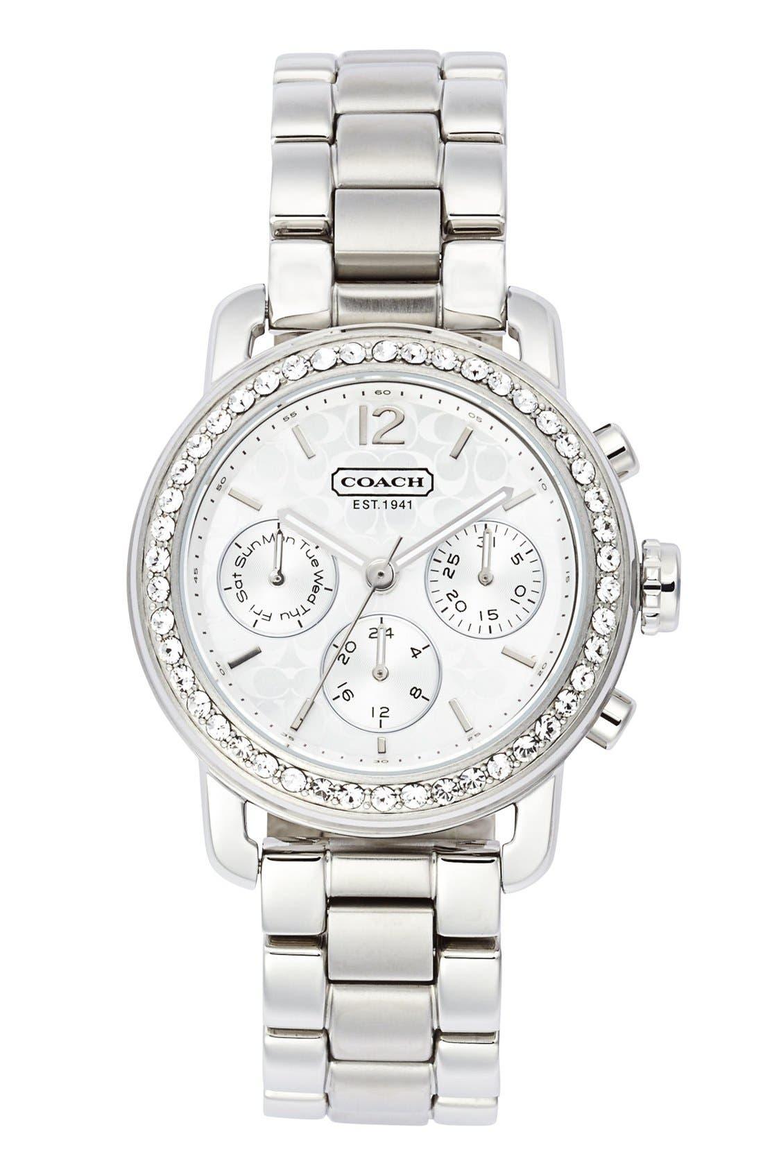 Alternate Image 1 Selected - COACH 'Legacy Sport' Crystal Bezel Bracelet Watch, 36mm