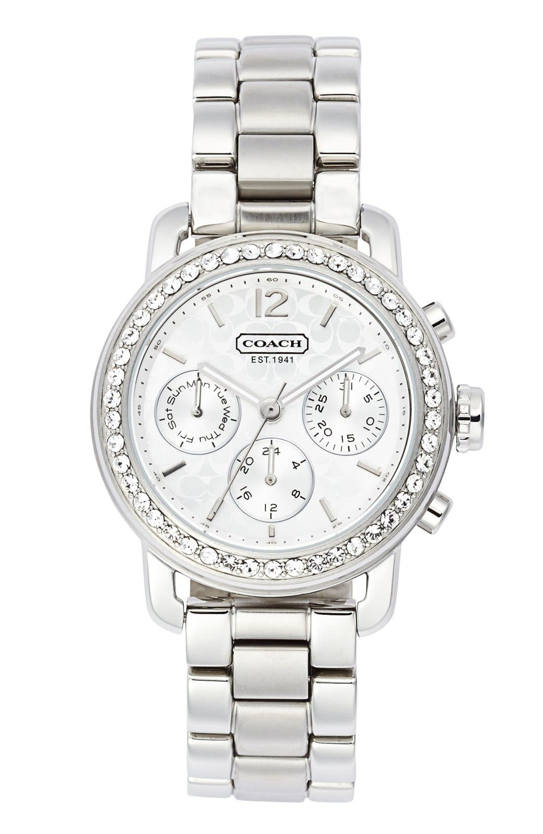 Main Image - COACH 'Legacy Sport' Crystal Bezel Bracelet Watch, 36mm