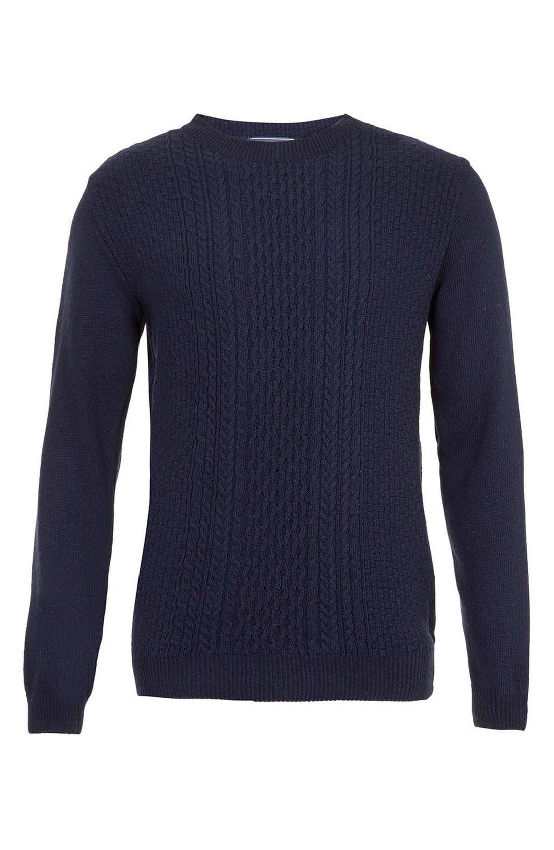 Main Image - Topman Cable Knit Crewneck Sweater