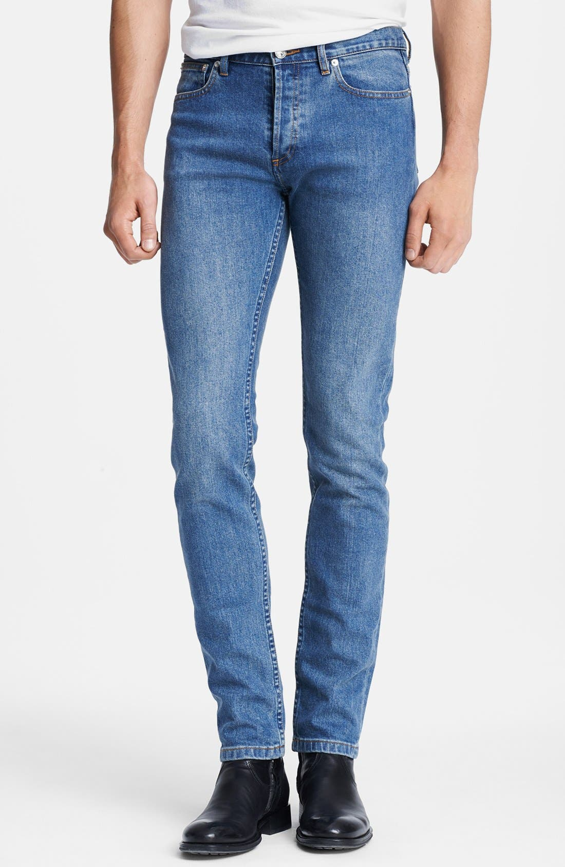 Alternate Image 1 Selected - A.P.C. 'Petit New Standard' Skinny Fit Jeans (Denim Blue)