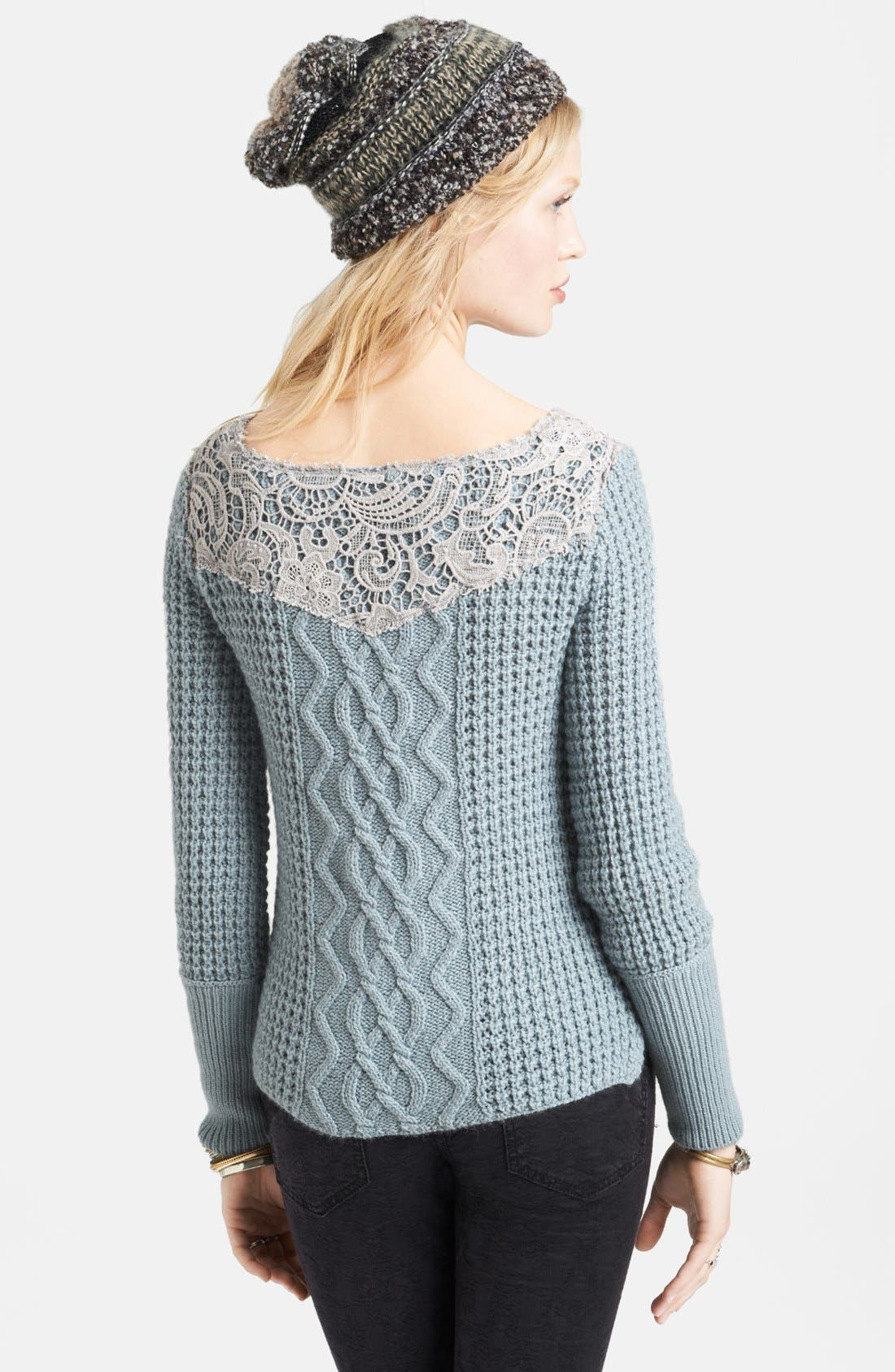 Alternate Image 2  - Free People Crochet Overlay Cabled Sweater