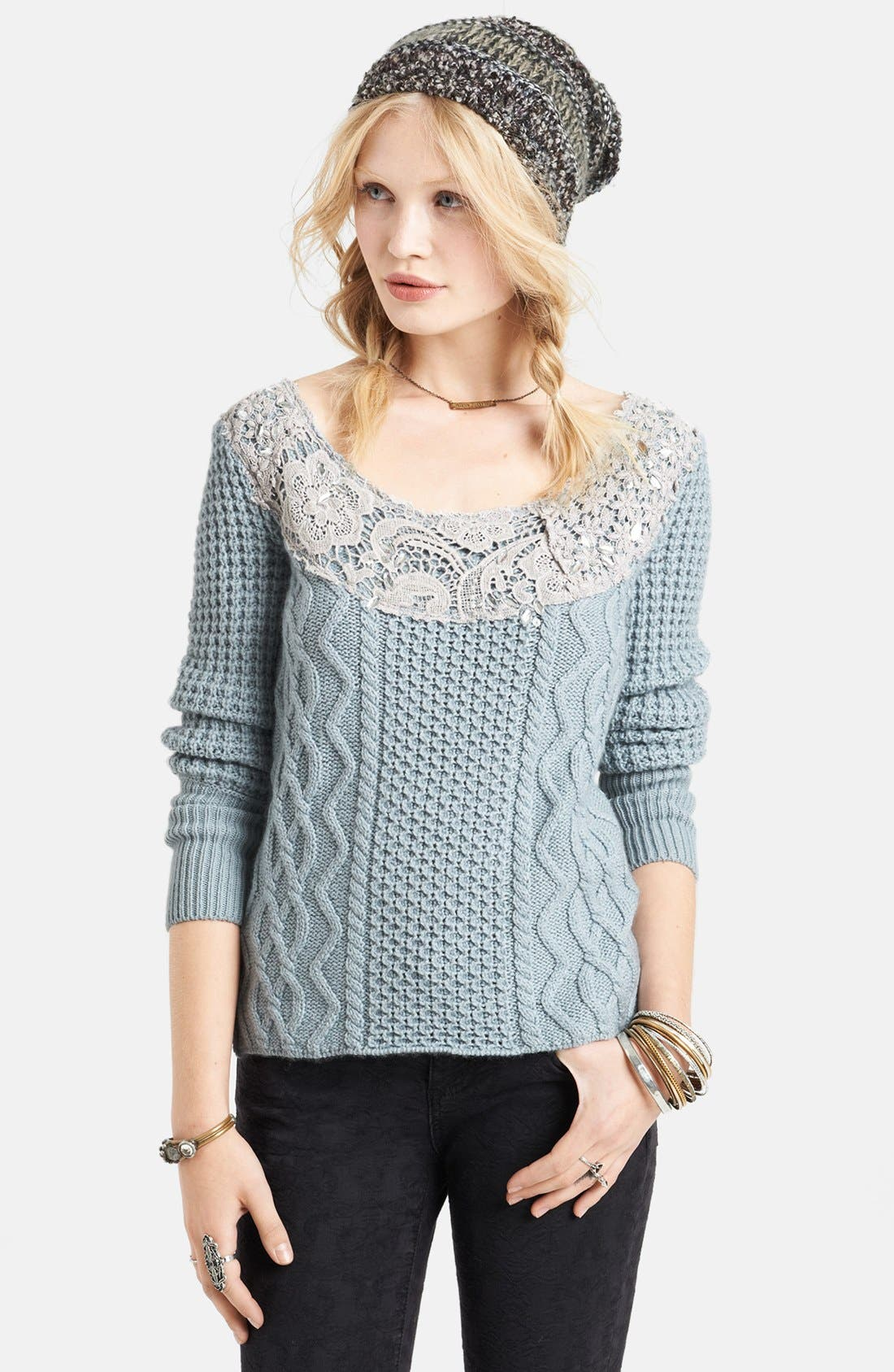 Main Image - Free People Crochet Overlay Cabled Sweater