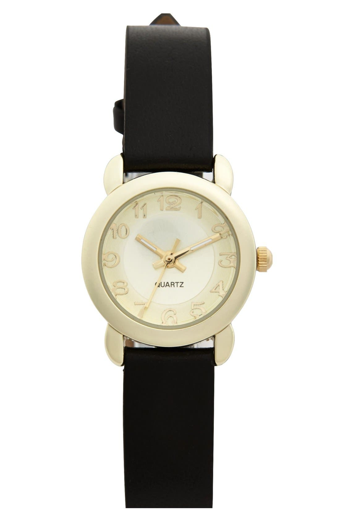 Main Image - Titanium 'Basic' Faux Leather Strap Watch, 22mm (Juniors) (Online Only)