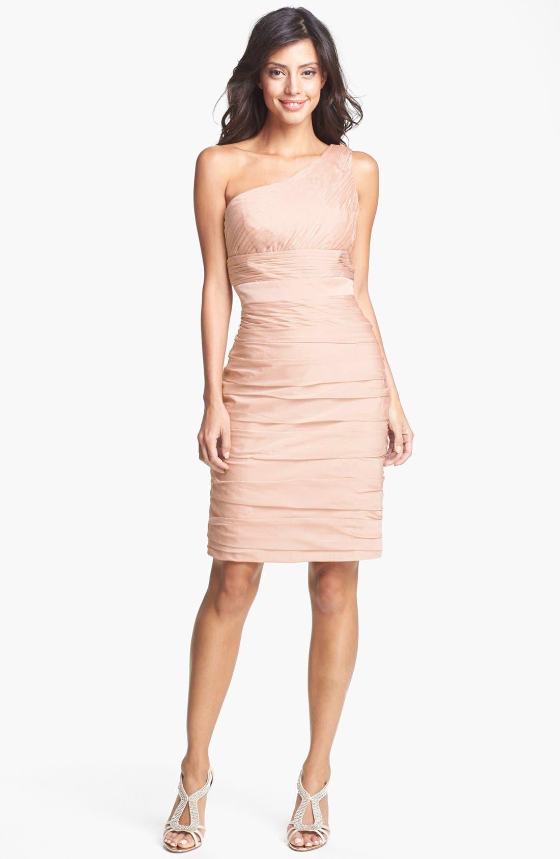 Main Image - ML Monique Lhuillier Bridesmaids Ruched One-Shoulder Sheath Dress (Nordstrom Exclusive)