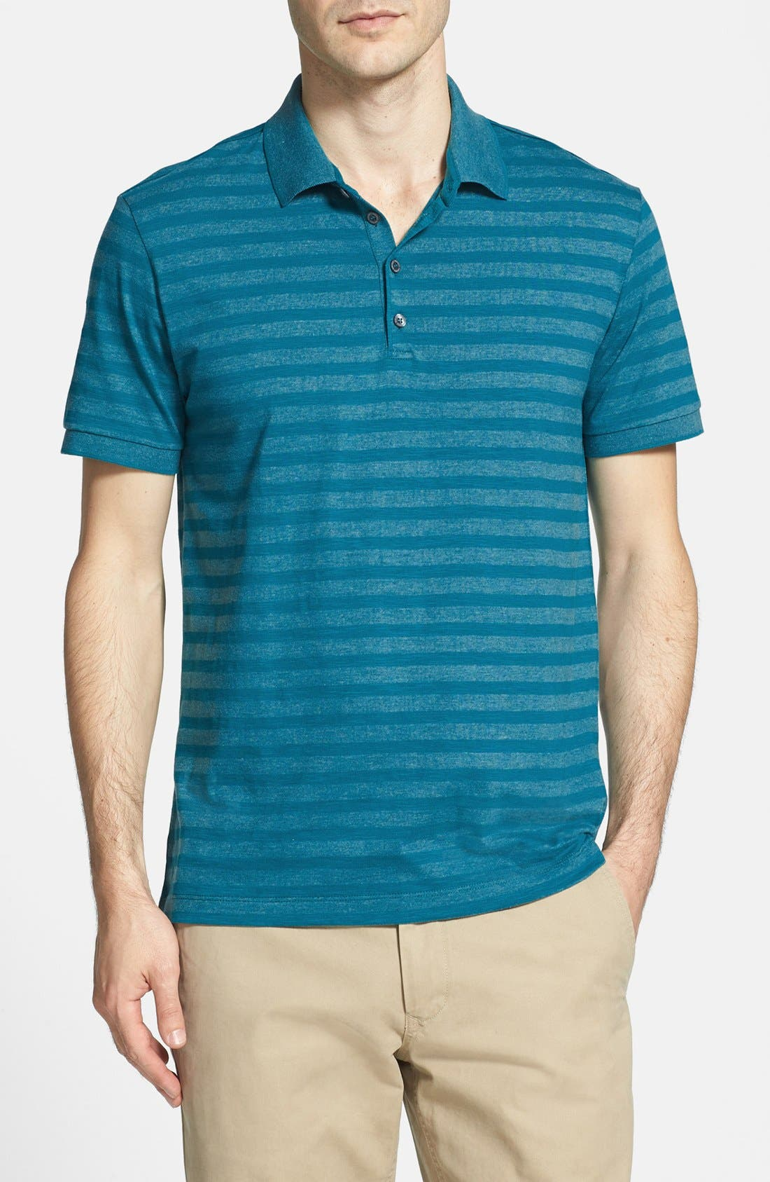 Alternate Image 1 Selected - BOSS HUGO BOSS 'Prato 25' Cotton Blend Polo Shirt