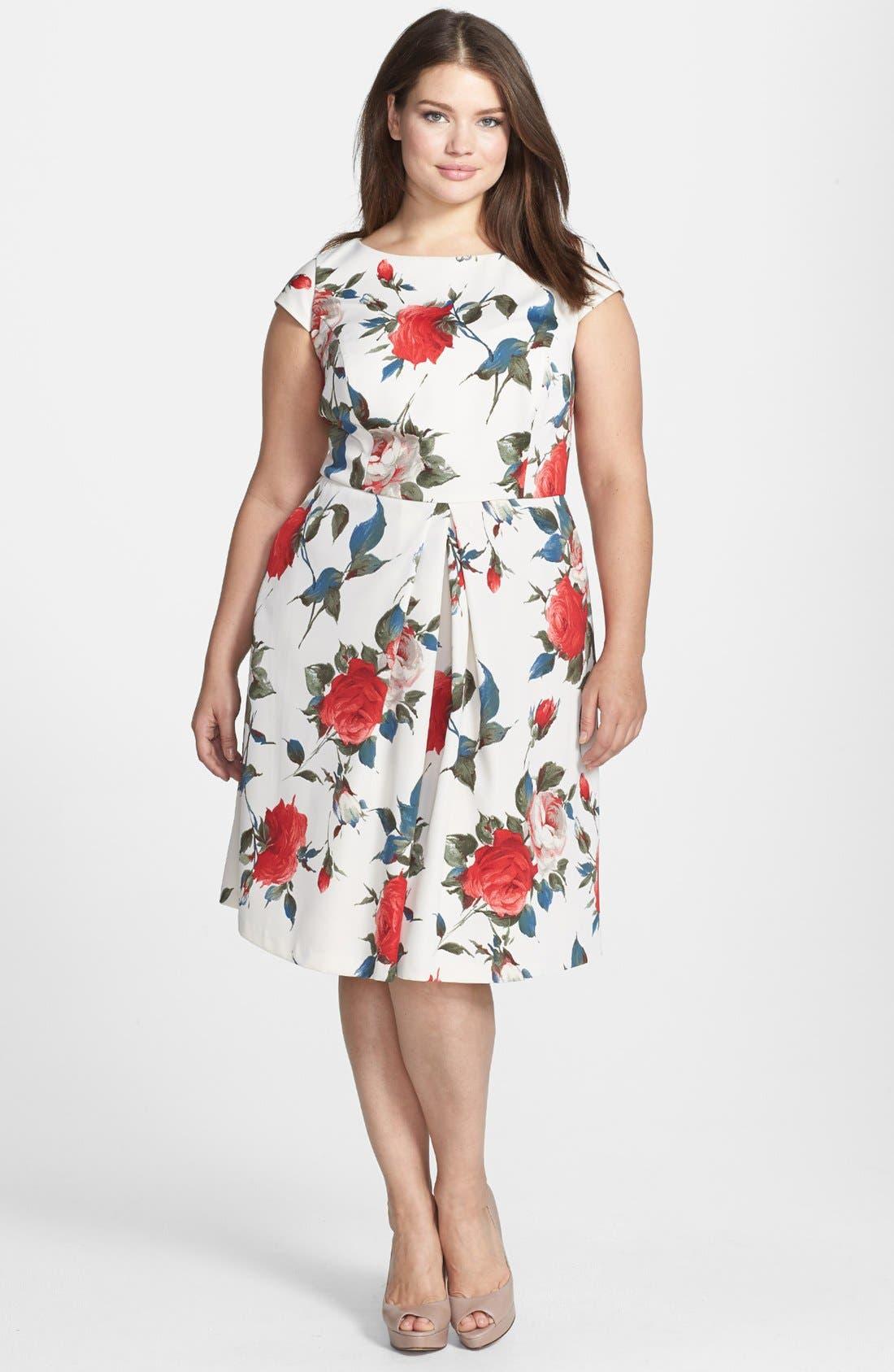 Main Image - ABS by Allen Schwartz Vintage Floral Print Fit & Flare Dress (Plus Size)