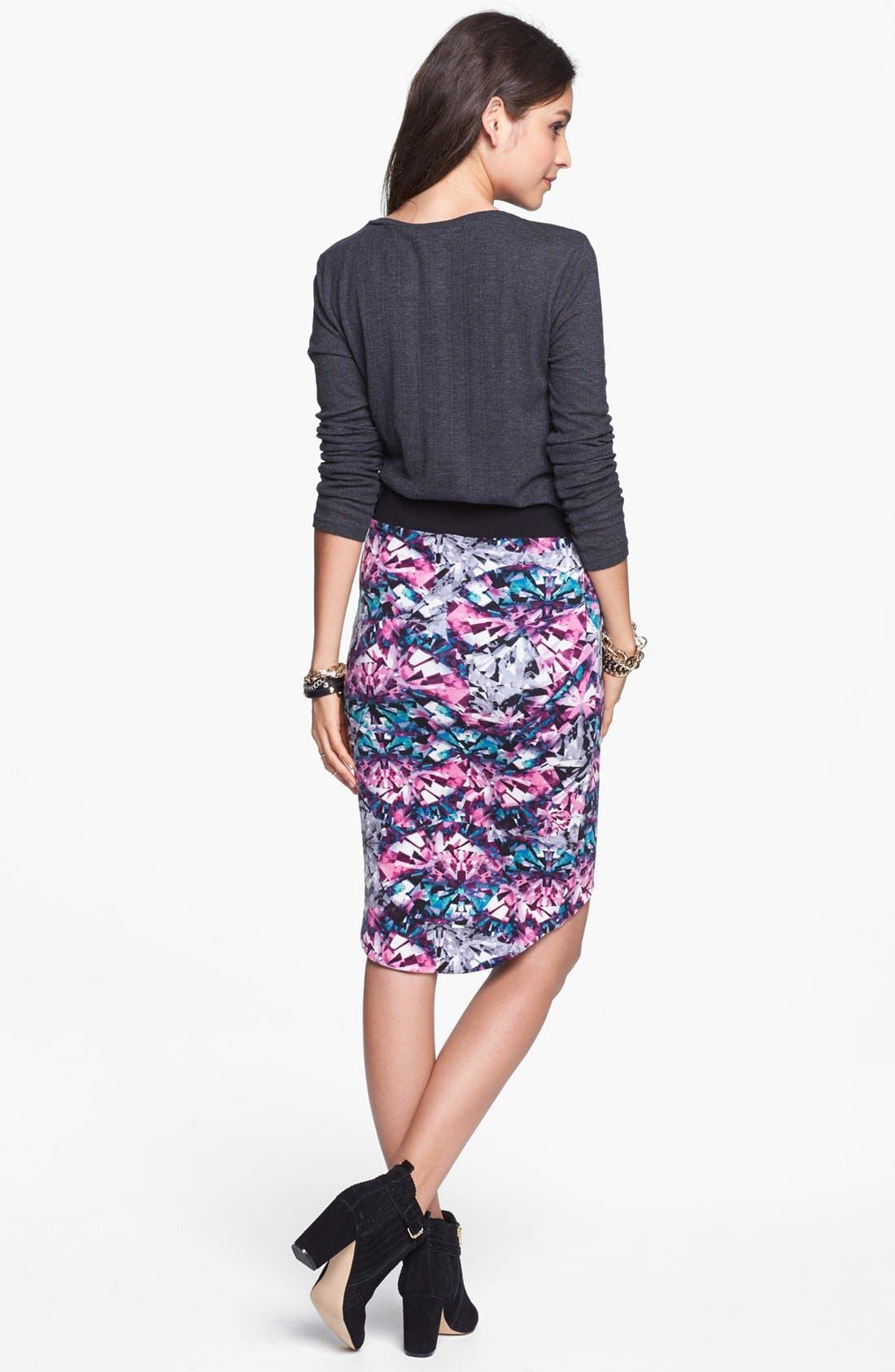 Alternate Image 2  - Lily White Print High/Low Skirt (Juniors)