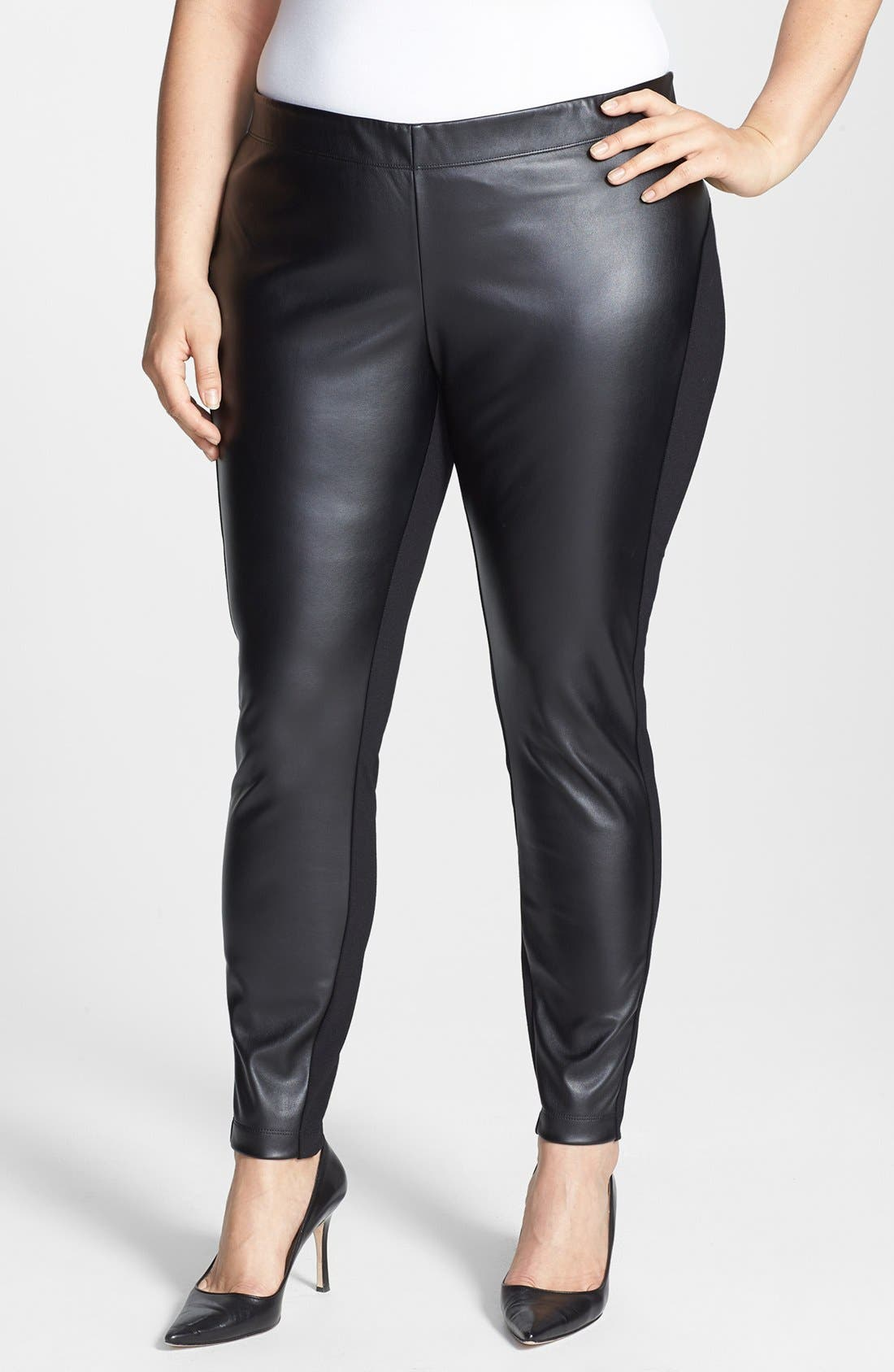 Alternate Image 1 Selected - DKNYC Faux Leather Front Leggings (Plus Size)