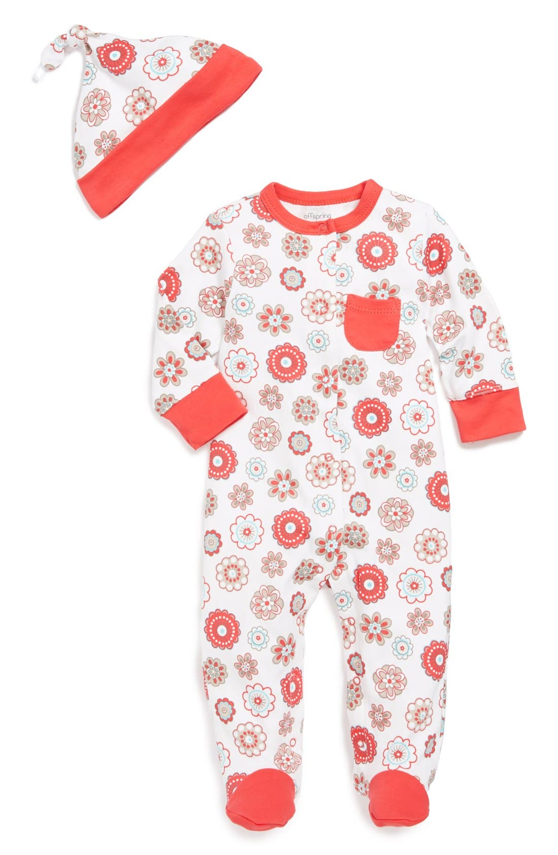 Alternate Image 1 Selected - Offspring 'Rondelle' Print One-Piece & Hat (Baby Girls)