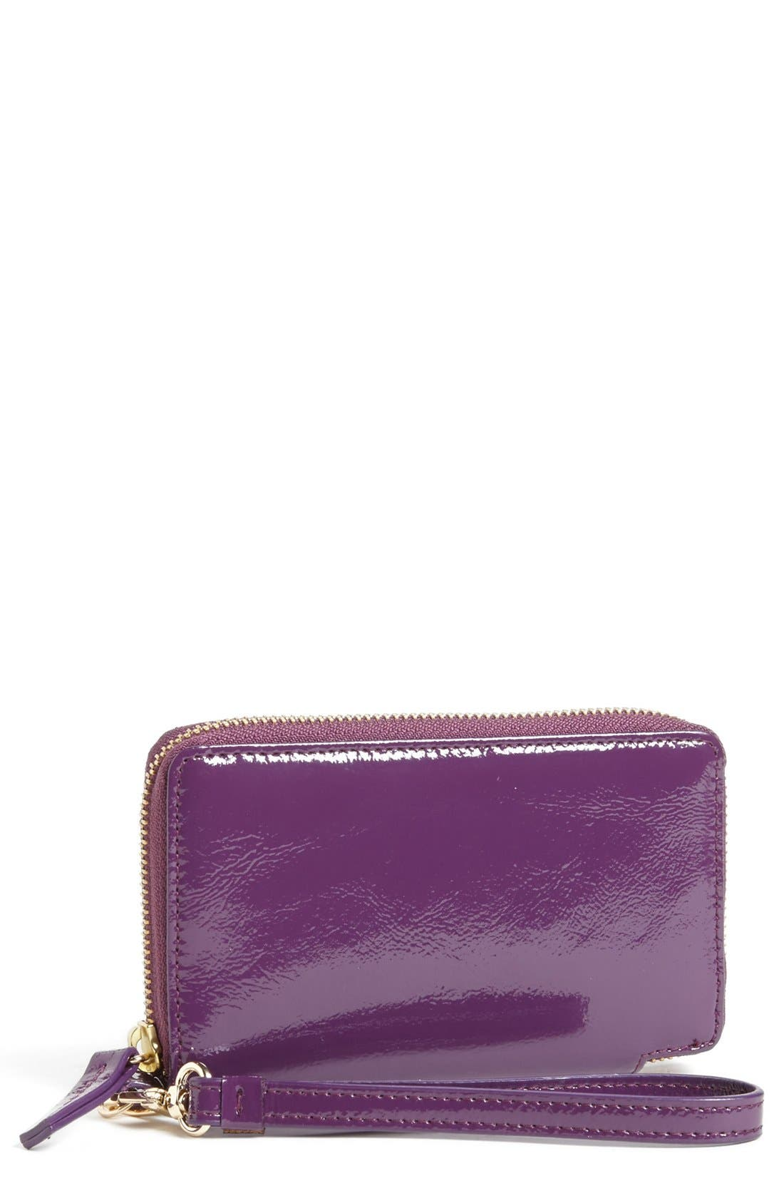 Alternate Image 1 Selected - Halogen® 'Cassie' Crinkle Patent Leather Phone Wallet