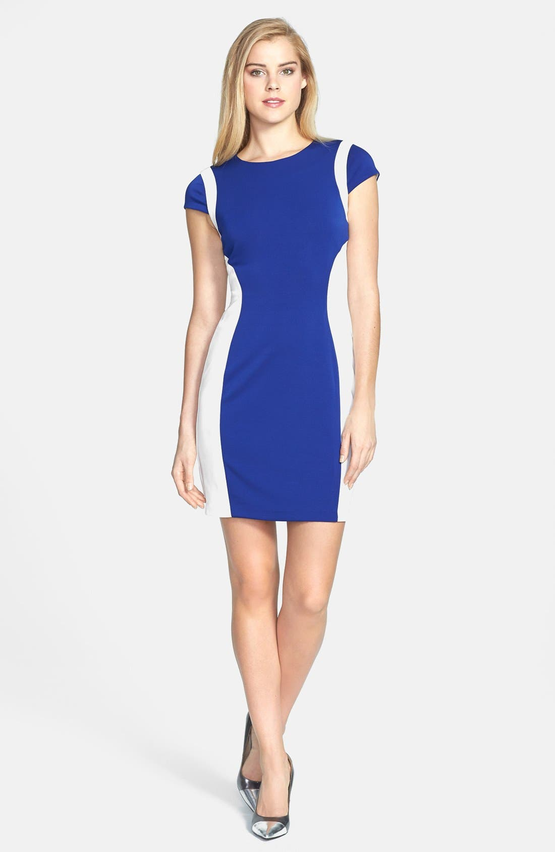 Alternate Image 2  - Ivy & Blu Colorblock Body-Con Dress