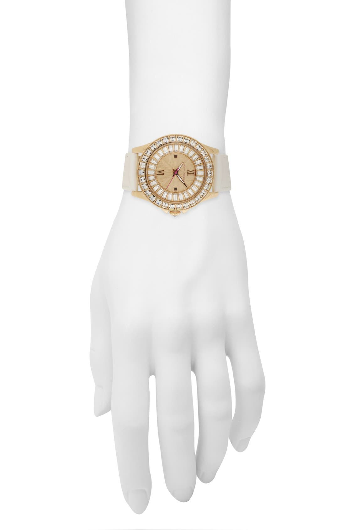 Alternate Image 4  - Betsey Johnson 'Bling Bling Time' Leather Strap Watch, 40mm