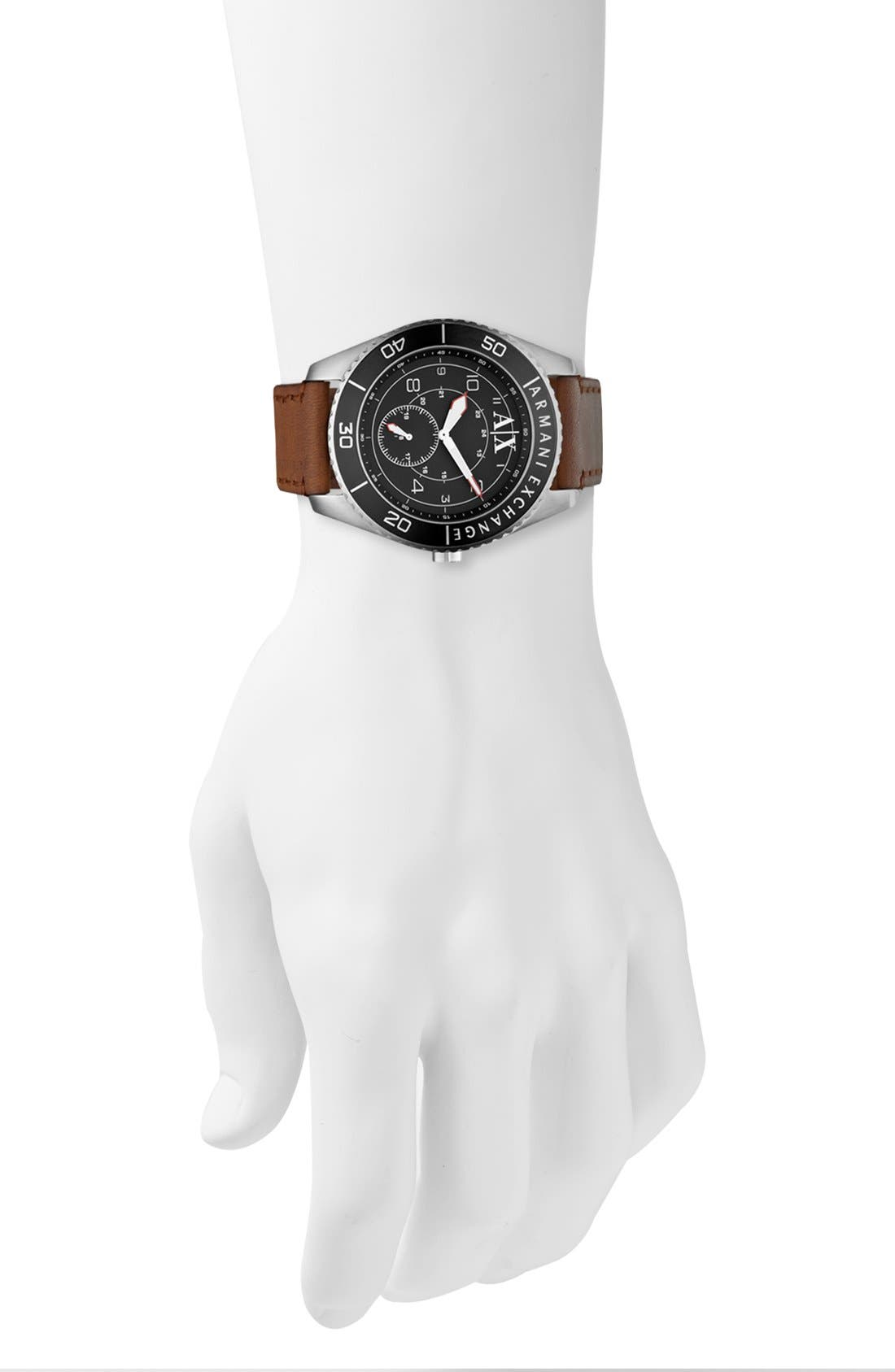 Alternate Image 4  - AX Armani Exchange Round Leather Strap Watch, 45mm
