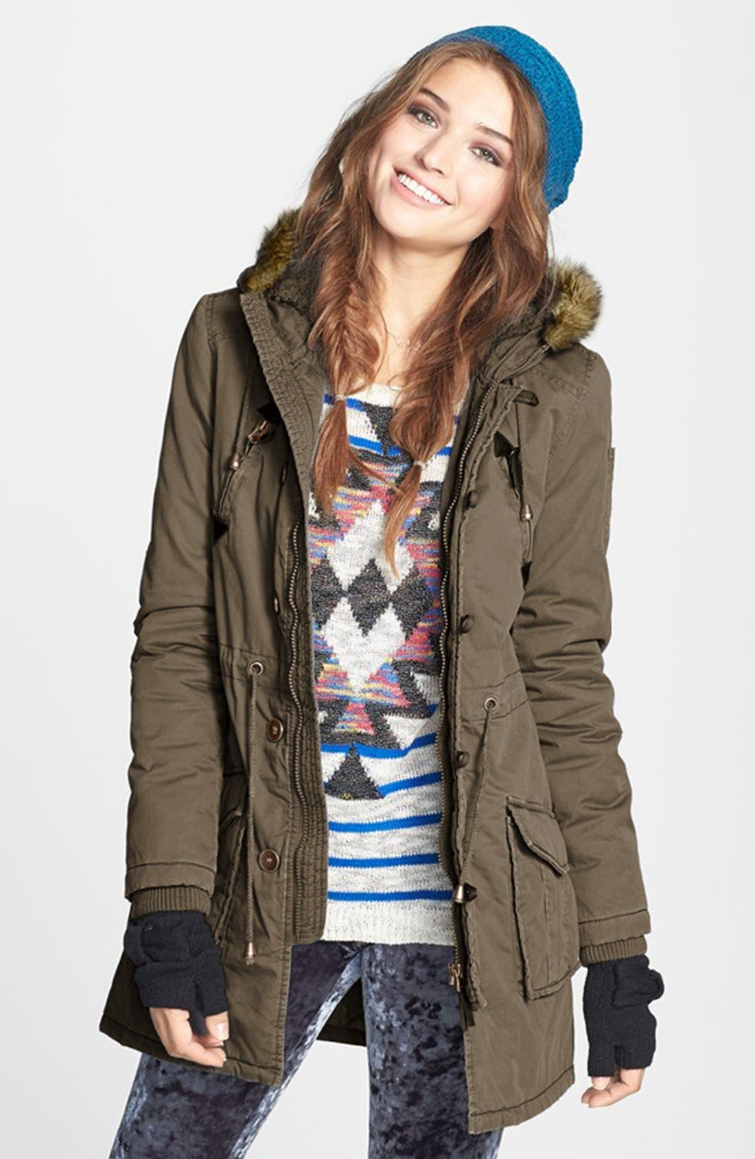Main Image - Sashimi Faux Fur Trim Anorak Jacket (Juniors)