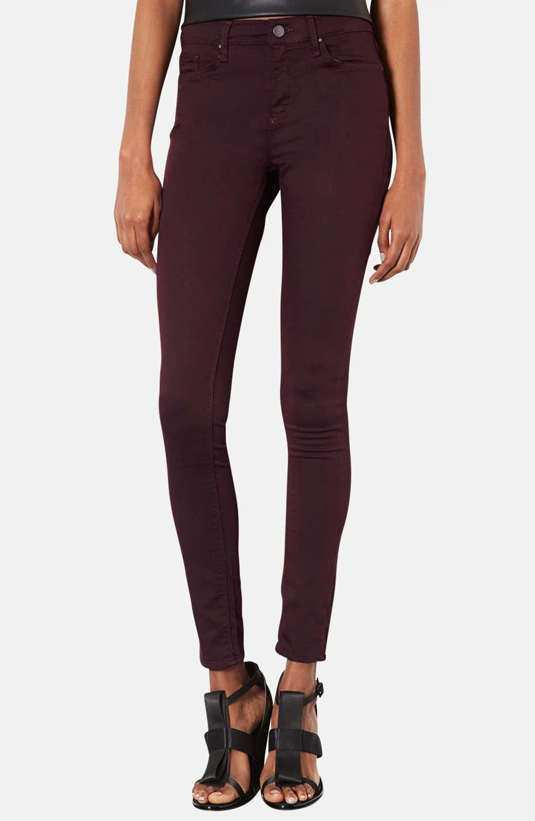 Main Image - Topshop Moto 'Leigh' Aubergine Skinny Jeans (Short)