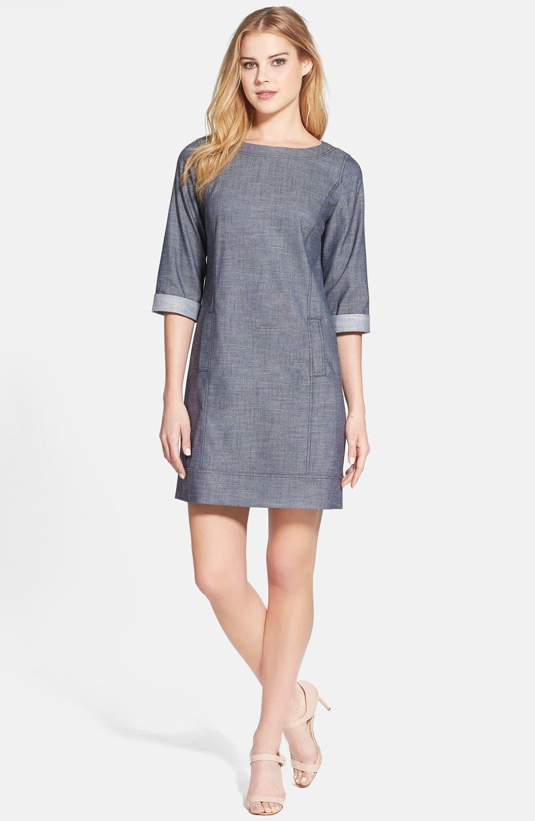 Alternate Image 1 Selected - Halogen® 'Indigo Crosshatch' Shift Dress (Regular & Petite)