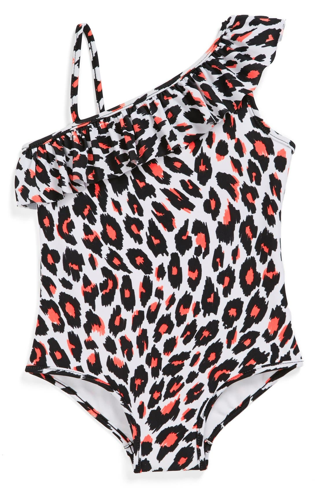 Alternate Image 1 Selected - Milly Minis Shoulder Ruffle One-Piece Swimsuit (Toddler Girls, Little Girls & Big Girls)