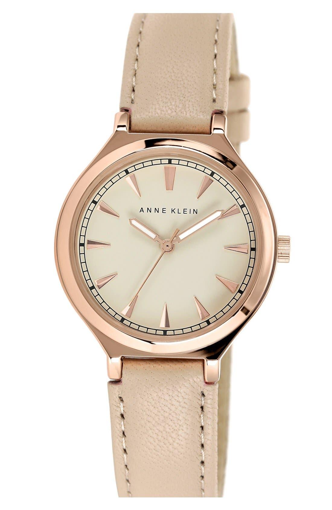 Main Image - Anne Klein Round Leather Strap Watch, 34mm