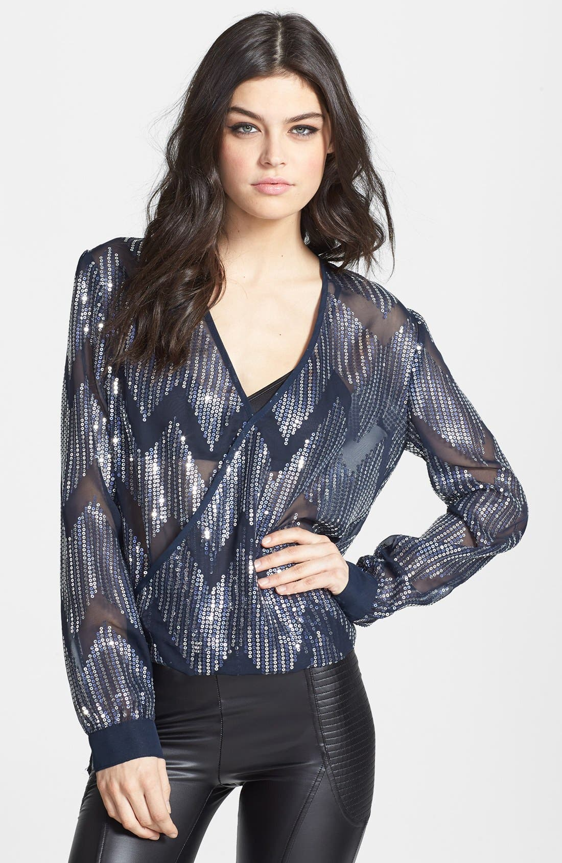 Alternate Image 1 Selected - Wayf Sequin Chiffon Surplice Top