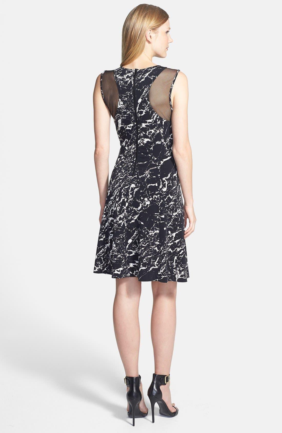Alternate Image 2  - Vince Camuto Sheer Inset Marble Print Ponte Dress
