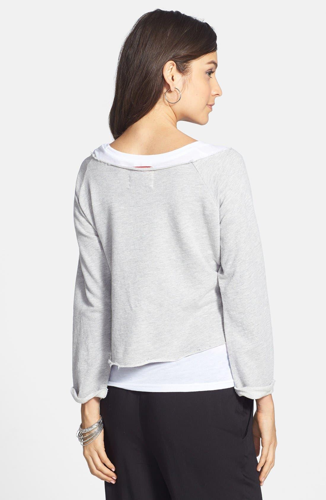 Alternate Image 2  - Sportiqe 'San Antonio Spurs' Fleece Crop Sweatshirt (Juniors) (Online Only)
