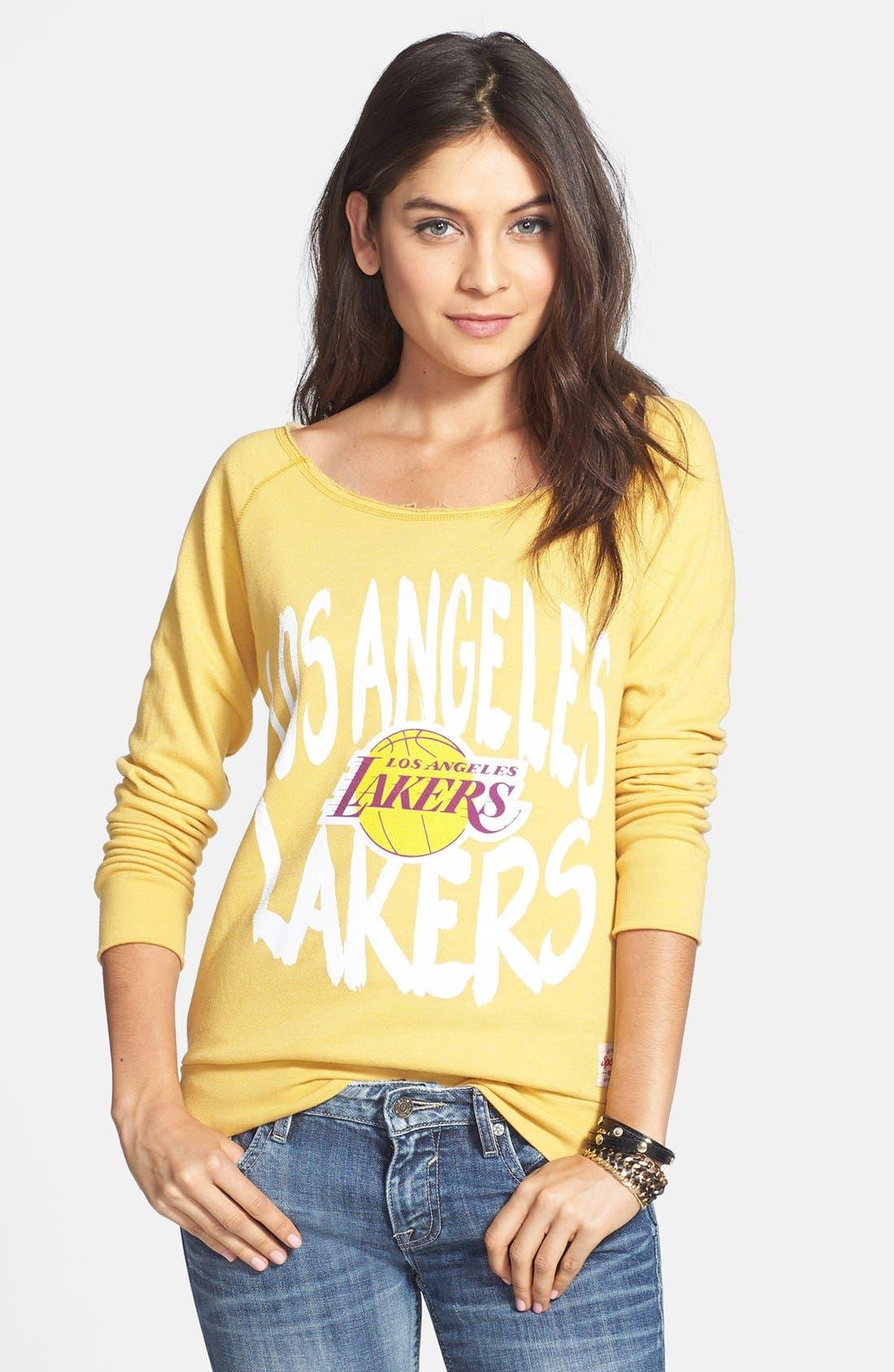 Alternate Image 1 Selected - Sportiqe 'Los Angeles Lakers' Wide Neck Fleece Sweatshirt (Juniors) (Online Only)