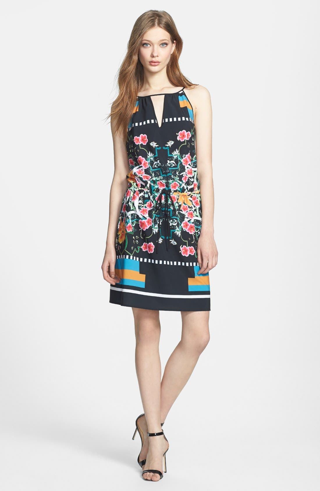 Alternate Image 1 Selected - Clover Canyon 'Cuba Scarf' Print Stretch Blouson Dress