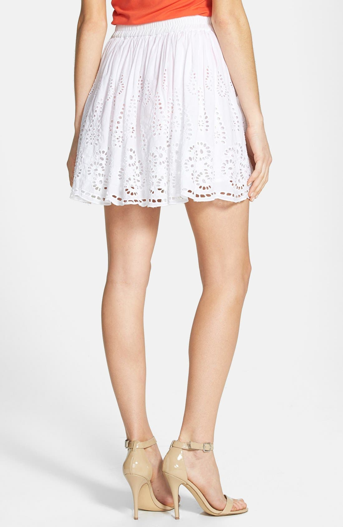 Alternate Image 2  - Two by Vince Camuto Eyelet Embroidered Cotton Skirt