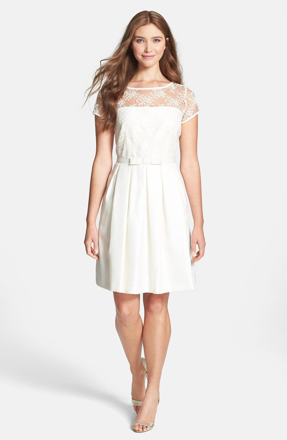 Alternate Image 1 Selected - Taylor Dresses Lace Bodice Shantung Fit & Flare Dress