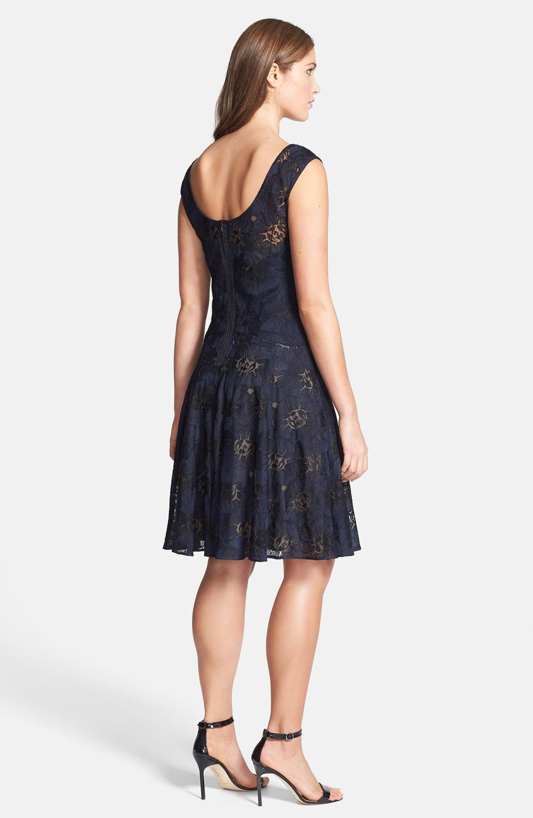 Alternate Image 2  - Vera Wang Illusion Lined Lace Fit & Flare Dress