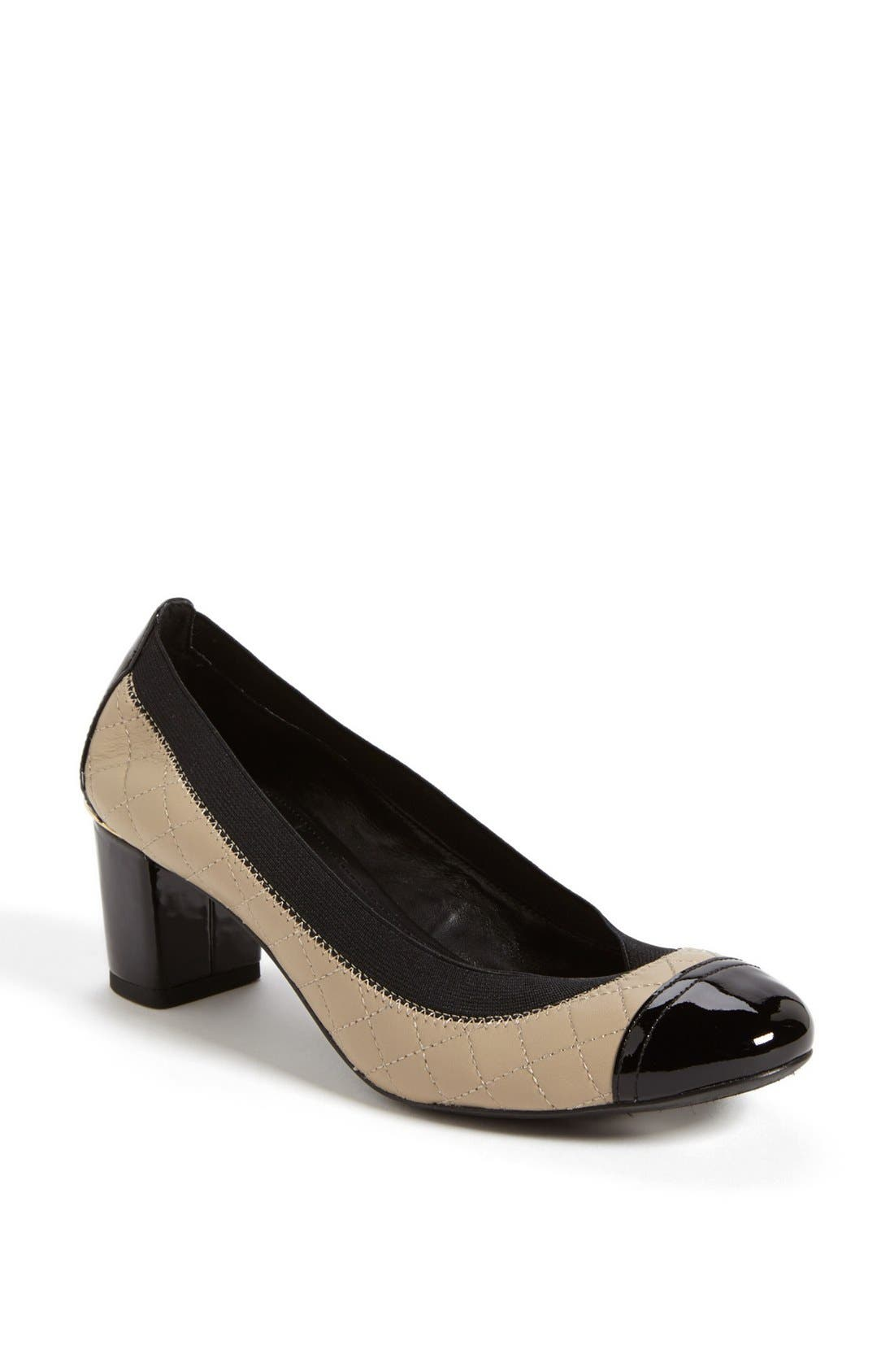 Main Image - Tory Burch 'Carrie' Quilted Leather Cap Toe Pump