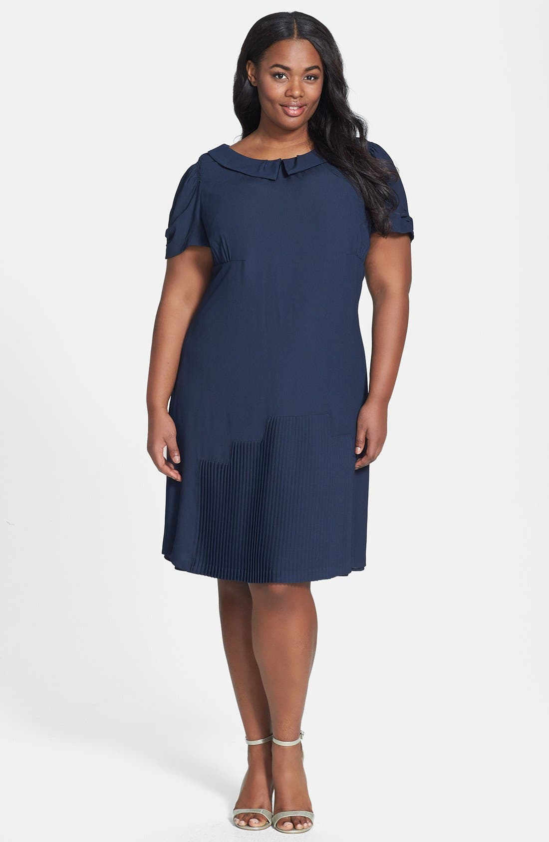 Main Image - ABS by Allen Schwartz Peter Pan Collar Dress (Plus Size)