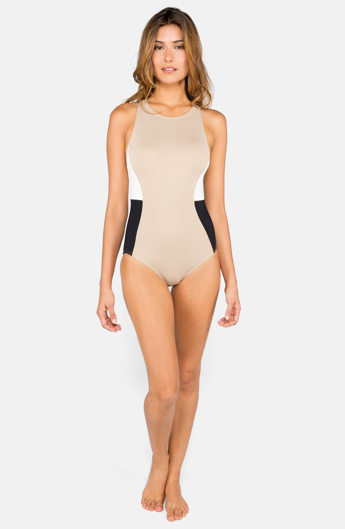 Alternate Image 1 Selected - DKNY 'Metro' Colorblock High Neck Maillot