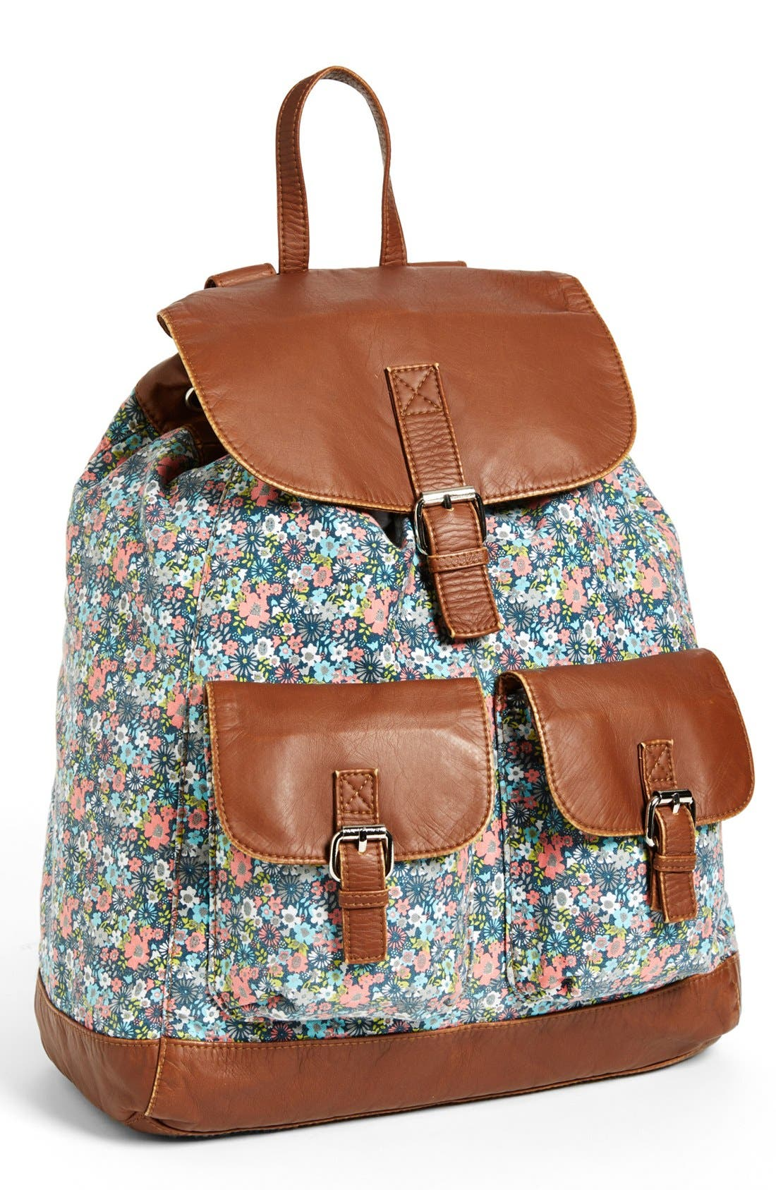 Main Image - T-shirt & Jeans Faux Leather Trim Floral Backpack (Juniors)
