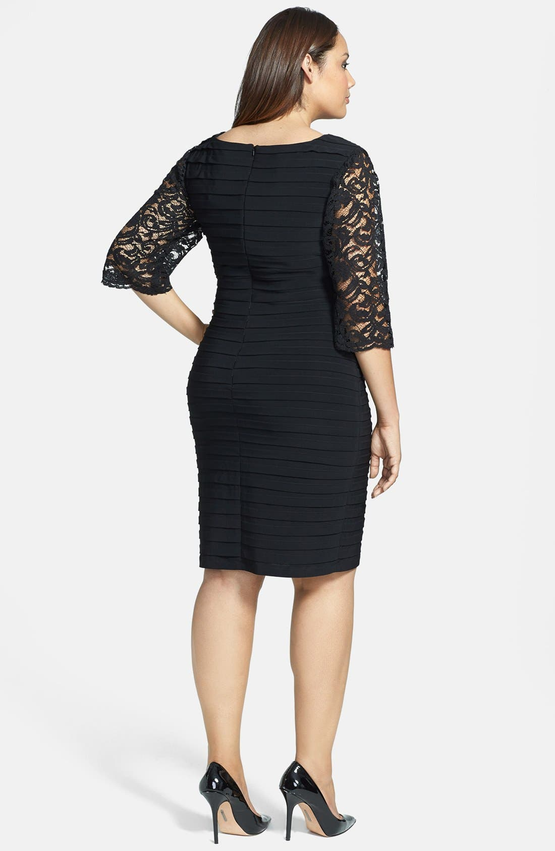 Alternate Image 2  - Xscape Lace Sleeve Shutter Pleat Sheath Dress (Plus Size)