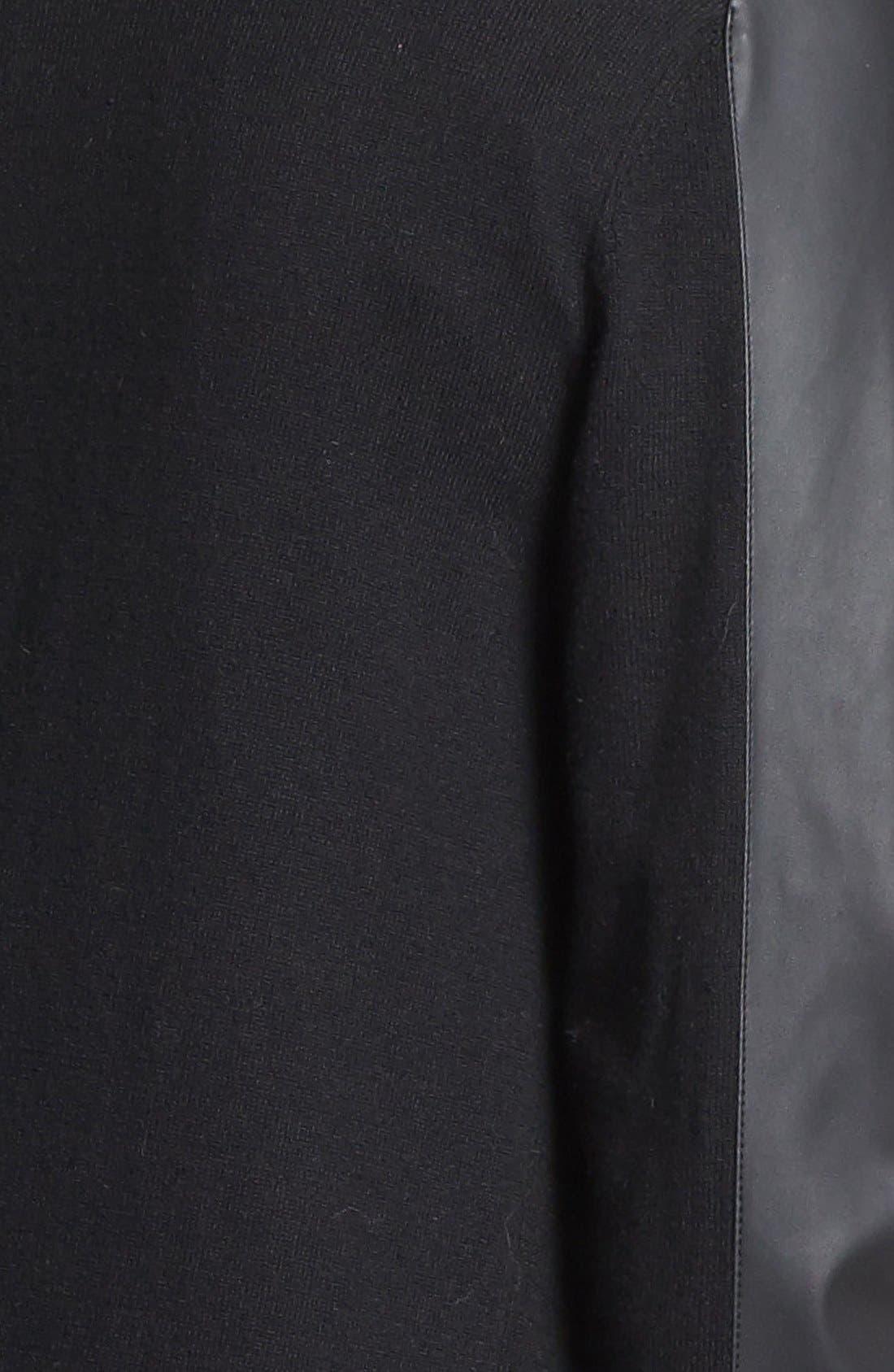 Alternate Image 3  - MICHAEL Michael Kors Faux Leather Sleeve V-Neck Cardigan (Petite)