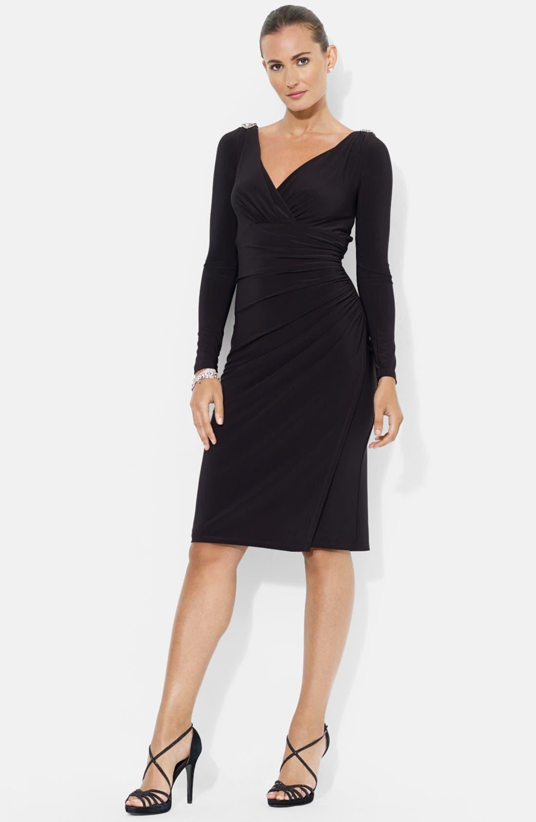 Main Image - Lauren Ralph Lauren Embellished Shoulder Jersey Dress
