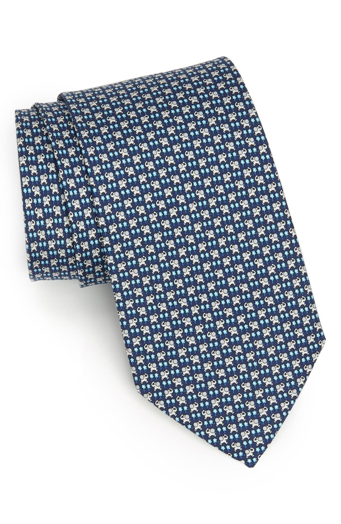 Alternate Image 1 Selected - Salvatore Ferragamo Elephant Print Silk Tie