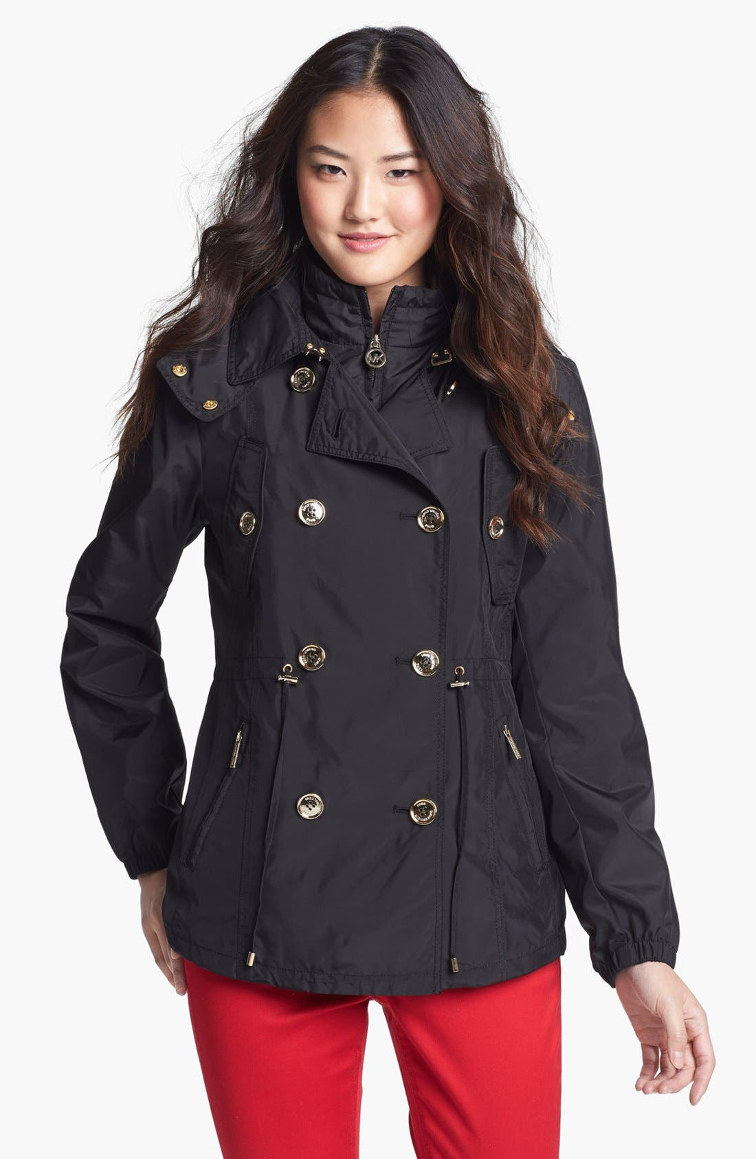 Main Image - MICHAEL Michael Kors Double Breasted Hooded Anorak (Nordstrom Exclusive) (Petite)