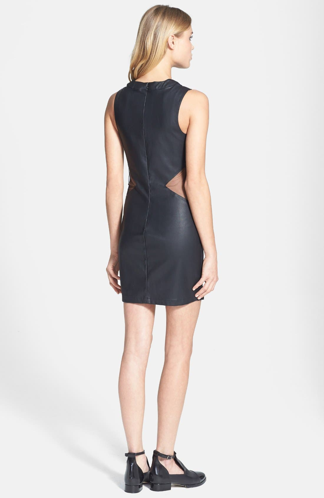 Alternate Image 2  - Topshop 'Rita' Mesh Inset Faux Leather Body-Con Dress