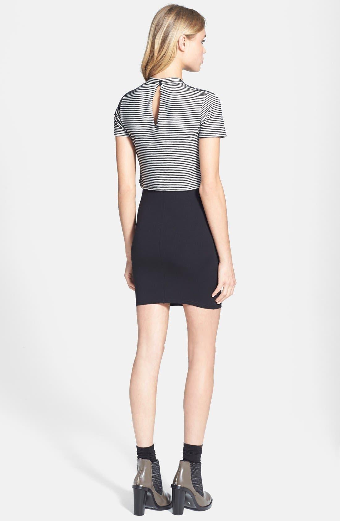 Alternate Image 2  - Topshop Stripe High Neck T-Shirt Dress