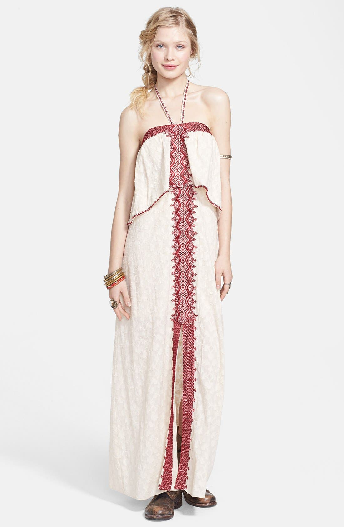 Alternate Image 1 Selected - Free People 'Marrakesh' Lace Trim Jacquard Halter Maxi Dress
