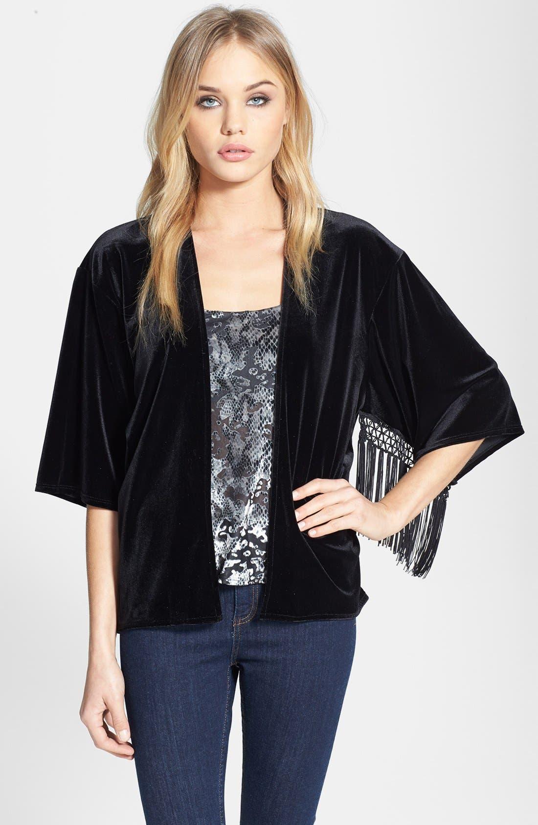 Main Image - Topshop Fringe Burnout Kimono Jacket