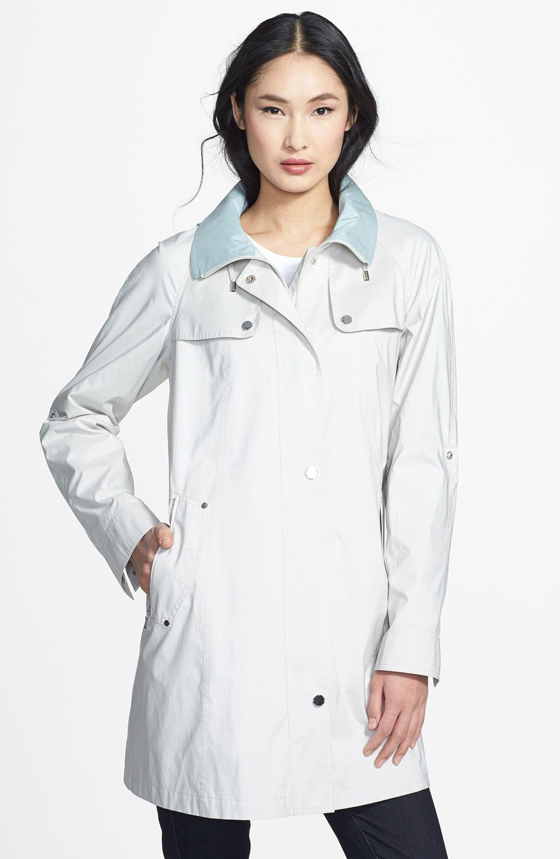 Alternate Image 1 Selected - Gallery Roll Sleeve A-Line Hooded Walking Coat (Regular & Petite) (Online Only)