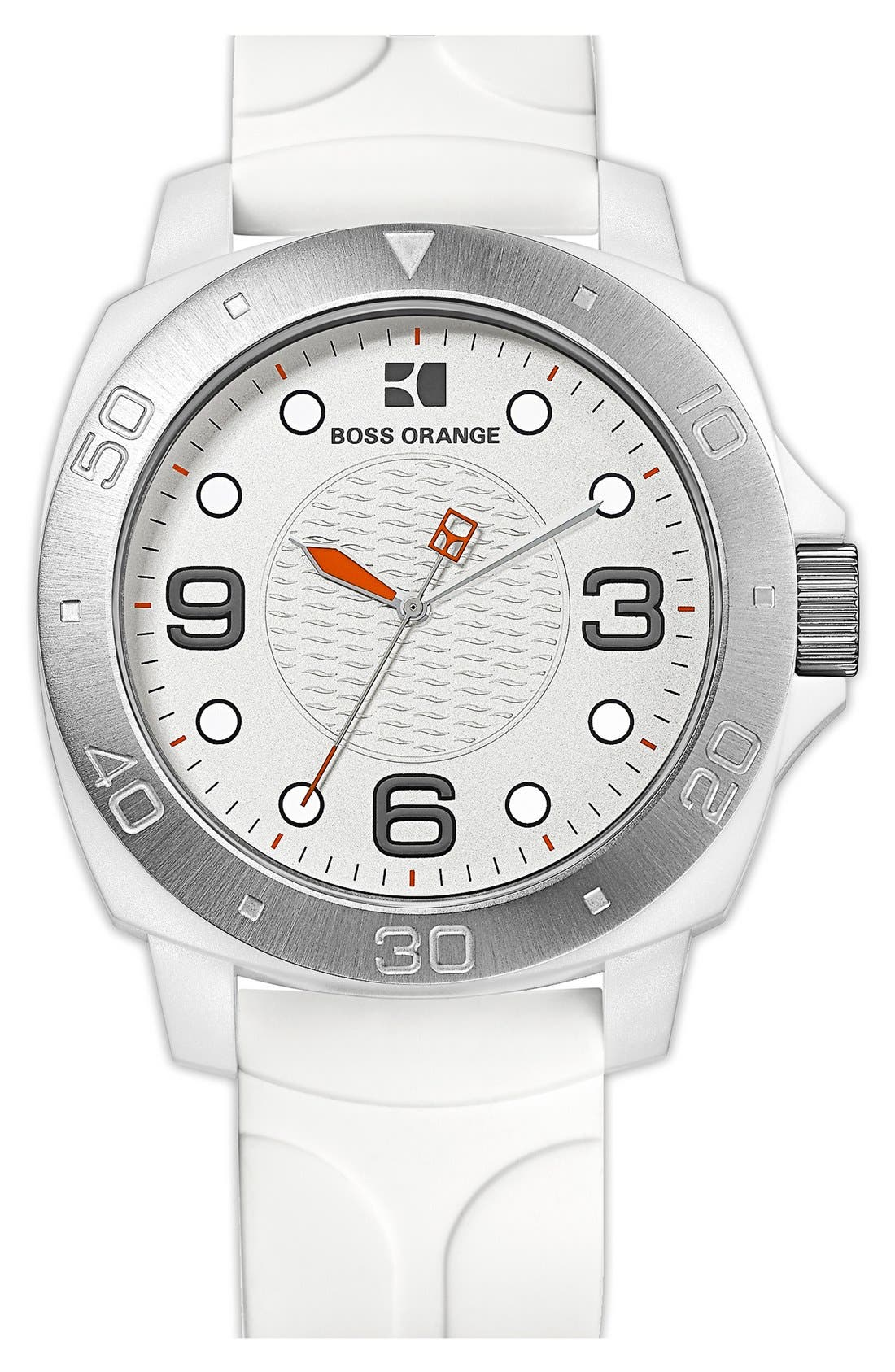 Main Image - BOSS Orange Round Silicone Strap Watch, 49mm