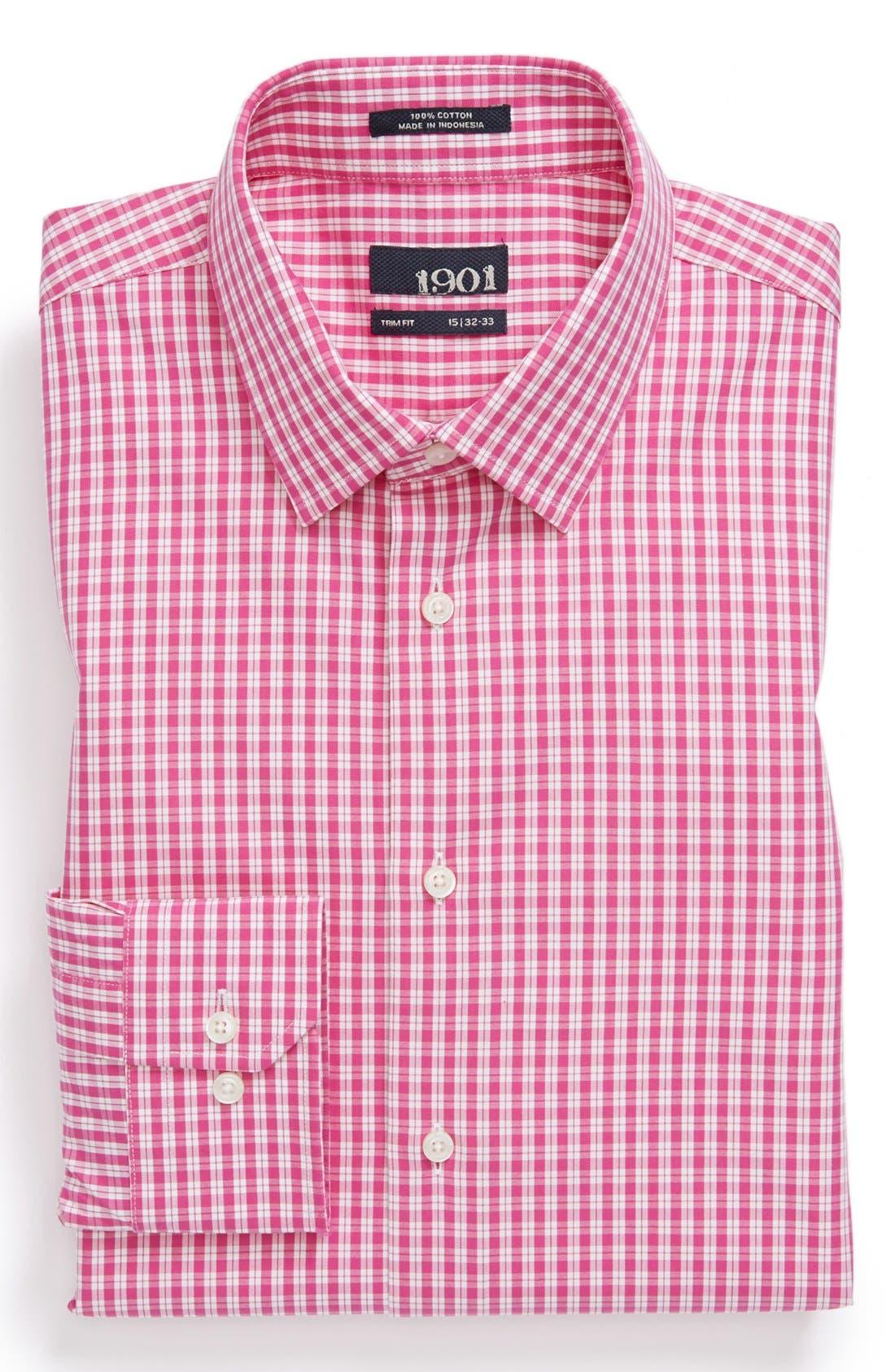 Alternate Image 1 Selected - 1901 Trim Fit Check Dress Shirt