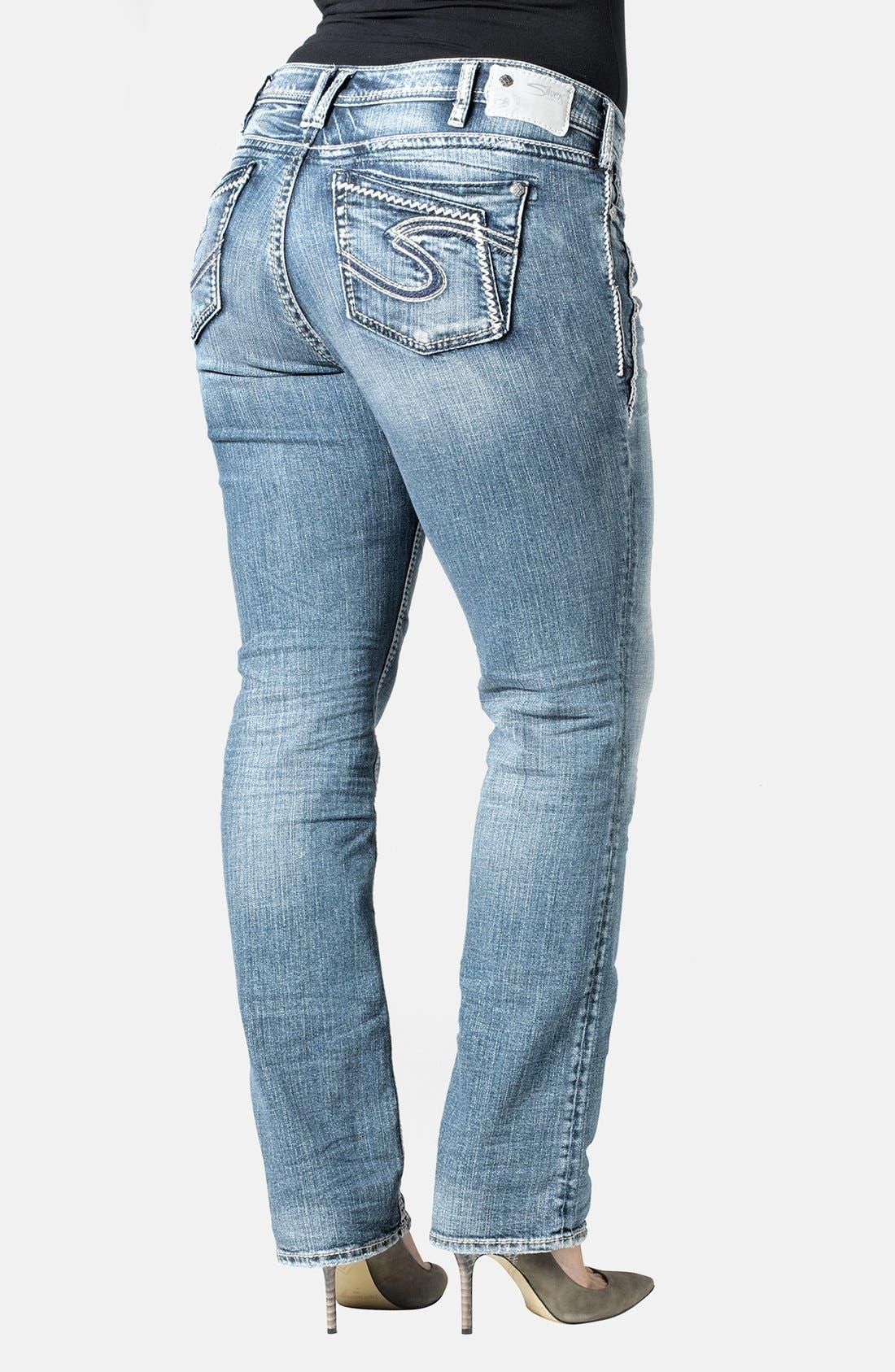 Alternate Image 2  - Silver Jeans Co. 'Aiko' Straight Leg Jeans (Indigo) (Plus Size)