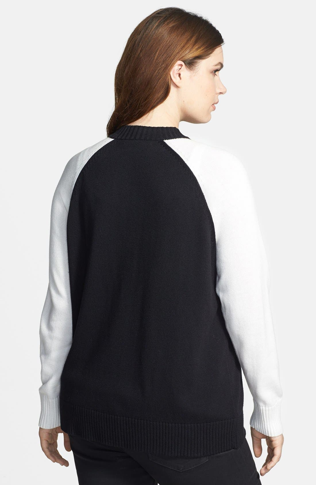 Alternate Image 2  - Sejour Knit Sweater Bomber Jacket (Plus Size)